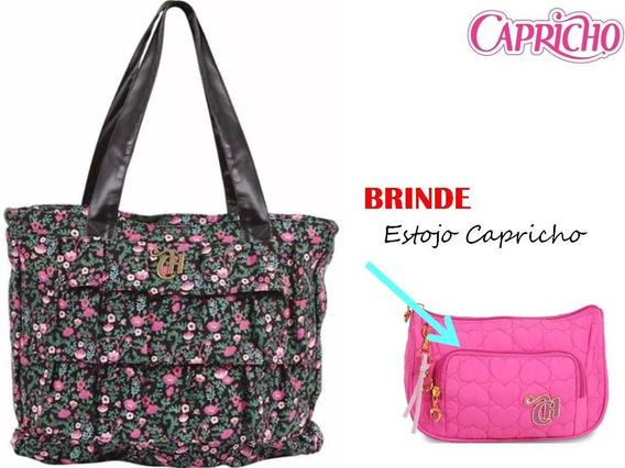 Bolsa Capricho Floral Preto Liberty - Dermiwil + Brinde A