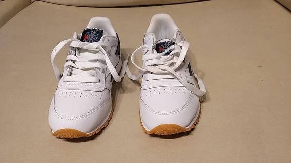Zapatillas Reebok Classic Leather Niñas Niños Blanca Y Azul