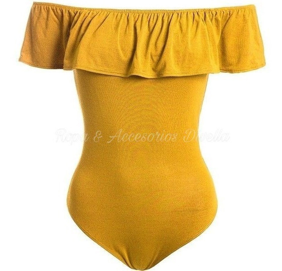 Ropa Verano Body Mujer Rumbera Mostaza