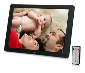Porta Retrato Digital 12pol Videos Usb Mp3 C/controle Preto