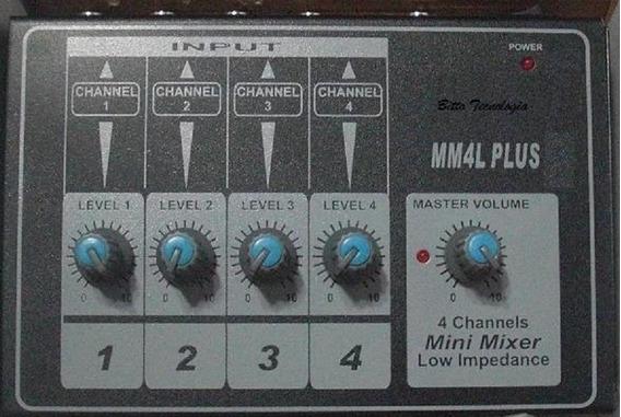 Mesa De Som - Mini Mixer - 4 Canais Mono E Alto Ganho