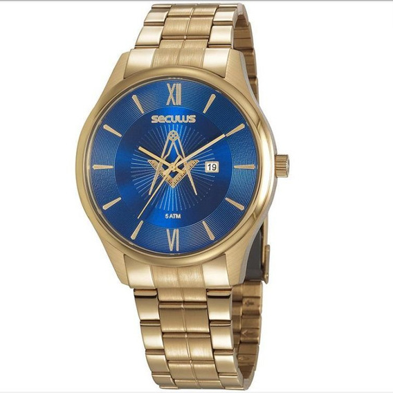 Relógio Seculus Masculino 20765gpsvda1 Dourado Maçonaria