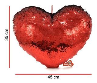Peluche Corazón Grande Con Lentejuela 45cm Original Phi Phi