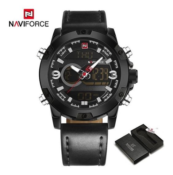 Relógio Masculino Preto Luxo Navi Original Super Promoção !!