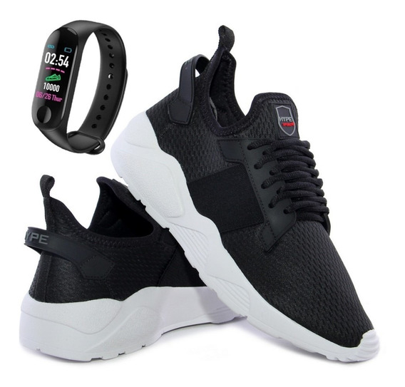 Kit Tênis Meia Calce Fácil Esporte Conforto + Relógio Smart