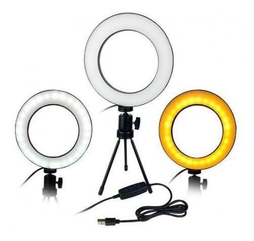 Luz Ring Light 16cm Usb Estética Selfie Uso Mesa E Tripé