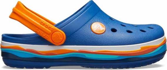 Zapato Crocs Infantil Crocband Wavy Band Clog Azul