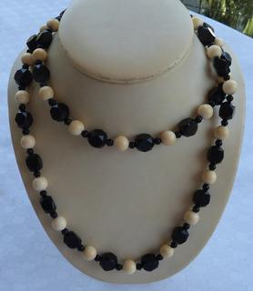 Monijor62-antiguo Collar Art Deco Azabache Y Material Noble