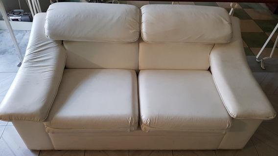 Sofa De 2 Lugares Em Courino - Branco