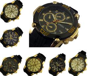 Relógio Masculino Preto Com Dourado Pulseira Borracha Barato