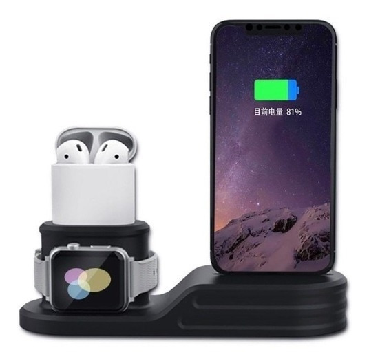 Suporte Dock Silicone iPhone 6 7 8 X Xs Plus Airpod Watch