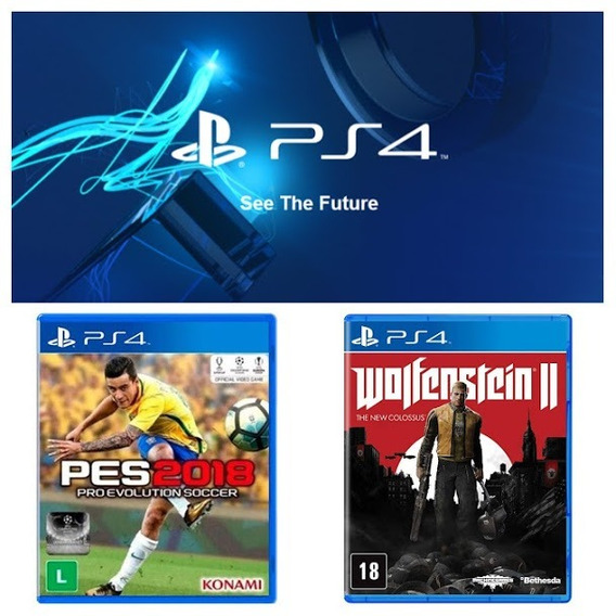 Pes 2018 + Wolfenstein 2 The New Colossus Midia Fisica Ps4