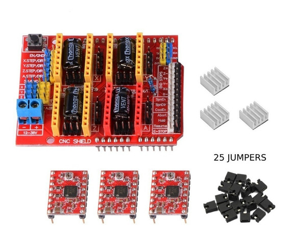 Kit Cnc Shield V3+3 Driver A4988 Com Dissipador+25 Jumpers