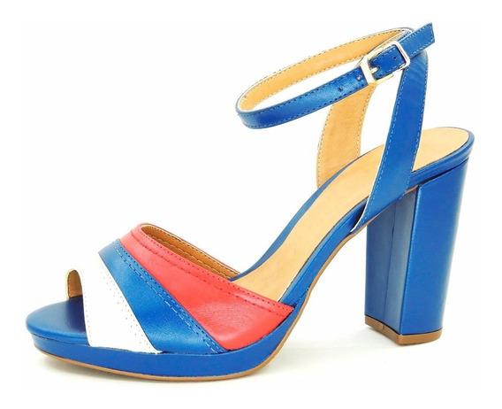 Sandália Salto Grosso Meia Pata Azul