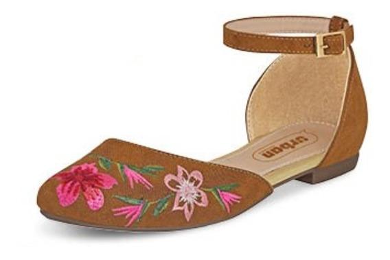 Calzado Zapato Dama Mujer Color Camel Cómodo Bordado