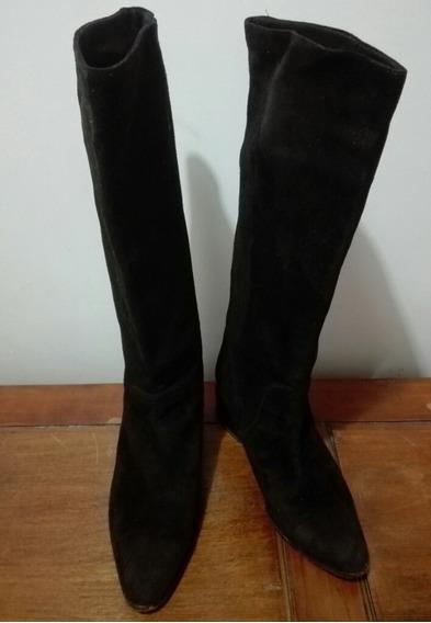 Zapatos Mujer Lonte Botas De Caña Alta Negras De Gamuza