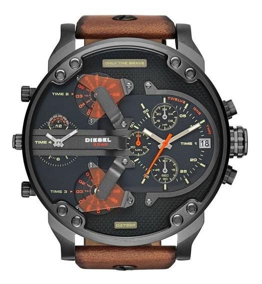 Relógio Ws Diesel Dz-7332 4 Máquinas Couro Masculino