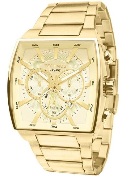 Relógio Technos Big Case Quadrado Dourado Js25al/4x