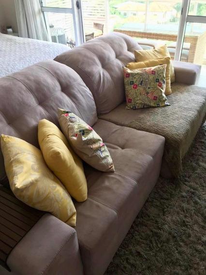 Sofa Suede Bege Retrátil