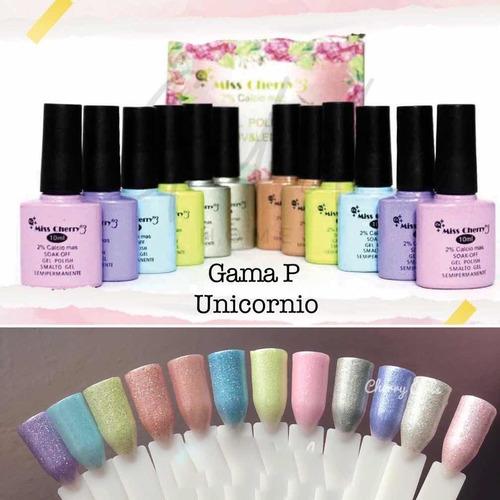 Imagen 1 de 6 de Gel Uv/led Miss Cherry Gama Unicornio 10ml Uñas Gel Semi 12p