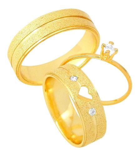 Imagem 1 de 8 de Par De Alianças Coração Vazado 6mm Diamantada Pedra Duas Com