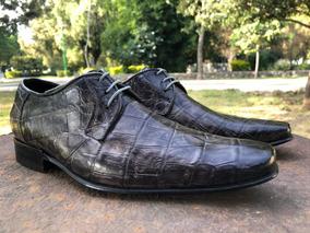 Zapato De Lujo, Piel Cocodrilo 100% Original, Tipo Cuadra