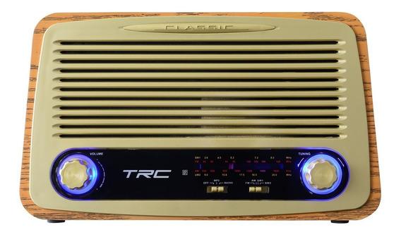 Caixa De Som Trc 212 Retrô 35w Rms Bluetooth Madeira