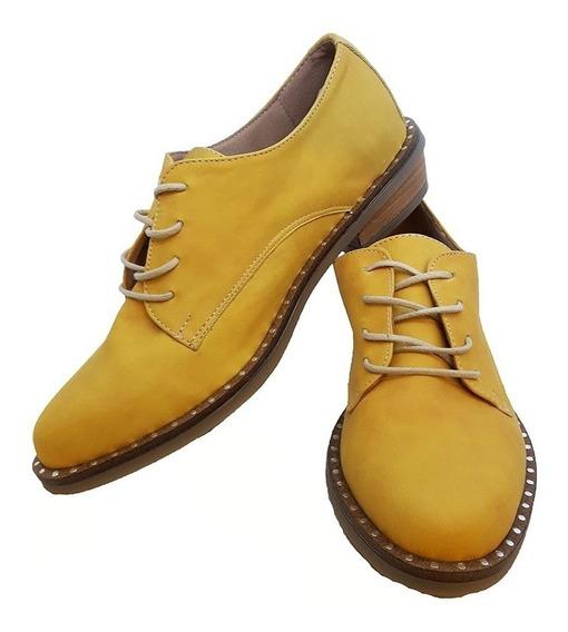 Zapatos Acordonados De Mujer- Cuero-modelo Bruna- Lubeca