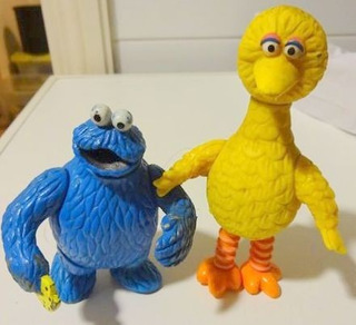 Figuras Cookie Monster Monstruo + Big Bird Plaza Sesamo