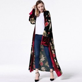 Women Loose Muslim Robe Long Sleeves Floral Print Open Front