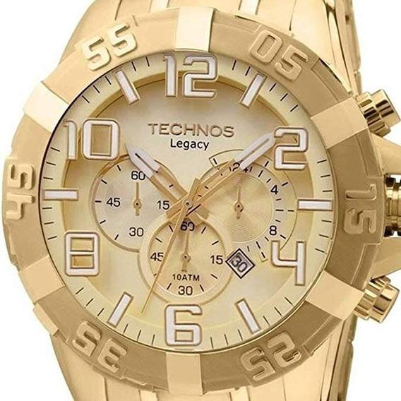 Relogio Technos Os20ik/4x Dourado Grande Ostentação Nf 1ano