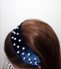 Tiara De Veludo Azul Bordada Com Perolas Tendência