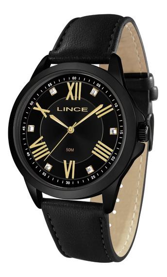 Relógio Lince Feminino Lrcj084l P3px Preto Couro Analogico