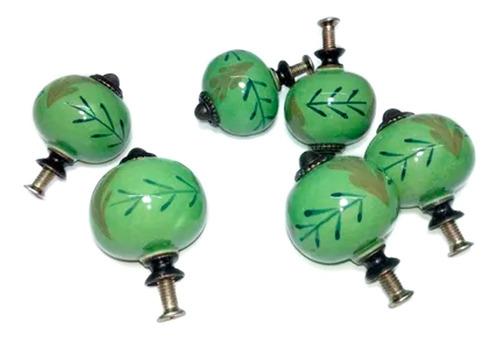 Tiradores Cerámica X6 Verde Manija P/ Cajones Muebles