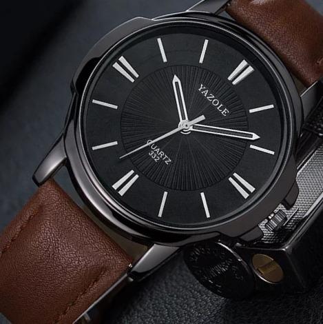 Relógio Masculino De Pulso Original Moderno Couro Top