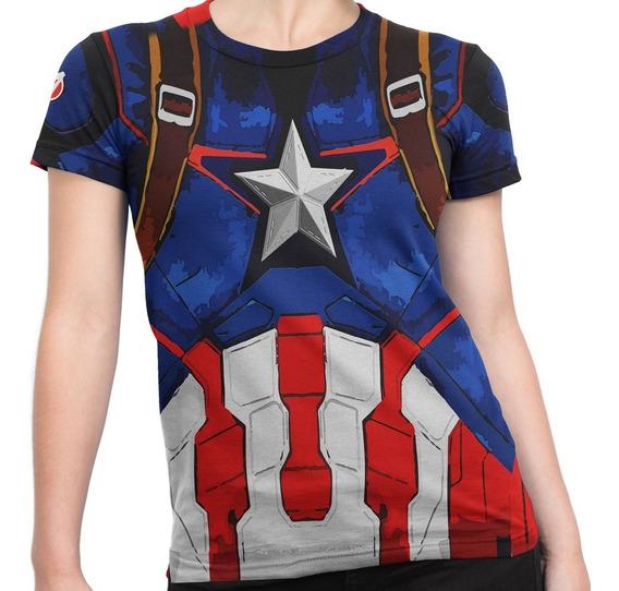Camiseta Baby Look Capitão America Armadura Md2