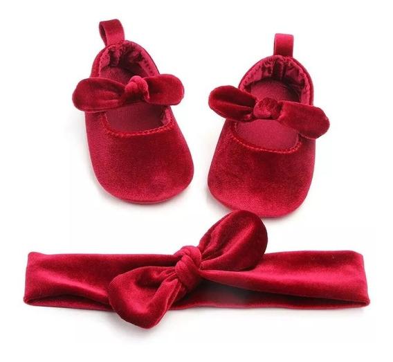 Zapatos De Bebé Niña Terciopelo Con Diadema.
