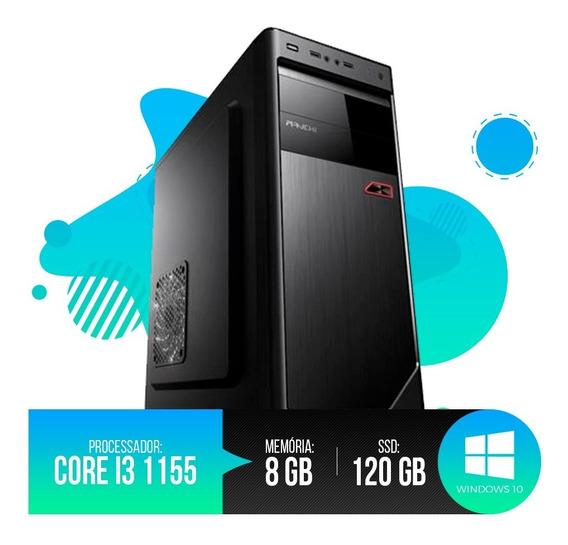 Desktop Pc Intel I3 1155 8gb Ram, Hd Ssd 120gb, Frete Grátis