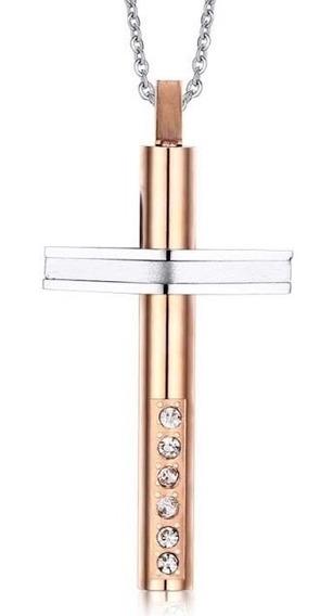 Colar Masculino Aço Inox Pingente Crucifixo Cruz + Zircônias