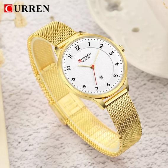 Relógio Feminino Curren Dourado, Azul Ou Rosê Original