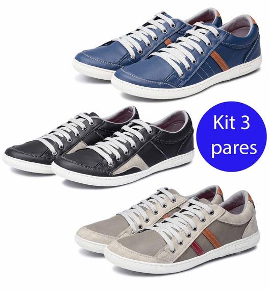 Kit 3 Pares Sapatênis Avalon Kit 27 Cinza/preto Branco/azul