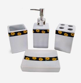 Lavabo Kit Com 4 Peças Branco Banheiro Pia Porta Escova