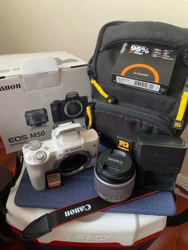 Camara Canon M50 Con Lentes 15-45mm Casi Nuevos, Incluye Acc
