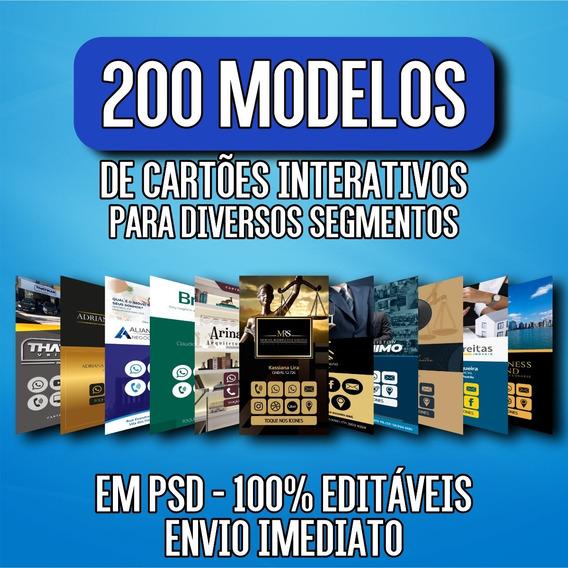 Pack 200 Cartões Interativos Digital Virtual 100% Editáveis