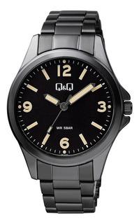 Reloj Q&q Análogo Caja Metal Malla De Acero Modelo Qb12-405