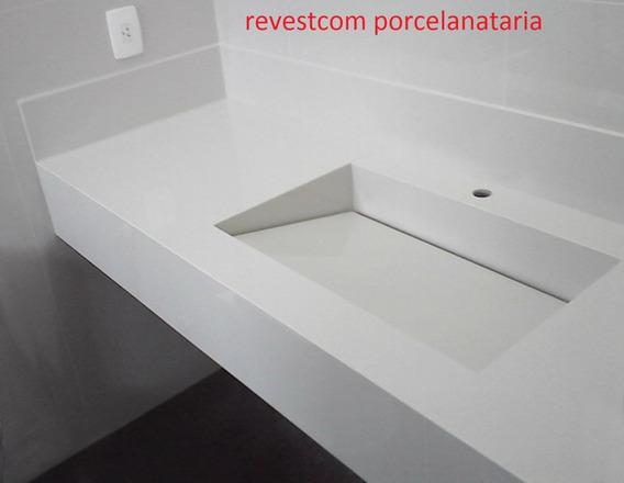 Pia De Porcelanato Branco Com Cuba Esculpida