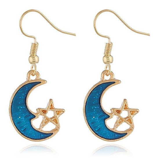Brincos De Joias Pequenas Lua Azul Simétricas Para Mulheres