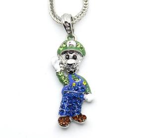 Colar Mini Mario Game Cor Prata Pedras Hip Hop