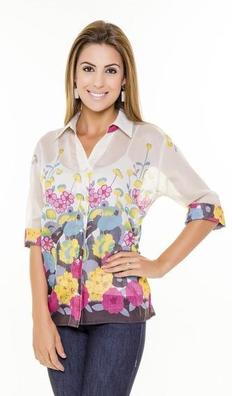 Camisa Feminina Com Transparência Tecido Chiffon, Blusa Bata