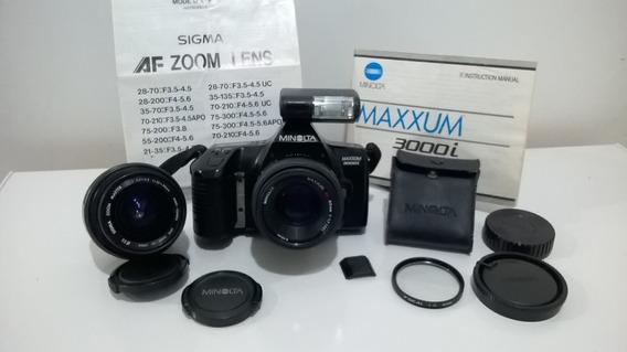 Câmera Minolta Maxxum 3000i Lente 50mm + Zoom Sigma 35-70mm